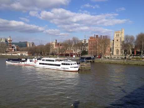 he present-day river frontage at Lambeth; the palace and church presumably occupy the same sites as their eleventh-century precursors (maybe the jetty too?)T