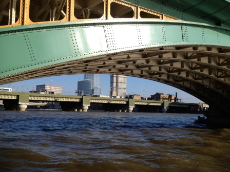 Looking beneath Southwark Bridge towards St Mary Overie (look hard and you can spot its central tower) - an early riverside nunnery?