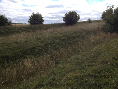 Midway up the ditches, giving some indication of the profile of the earthworks