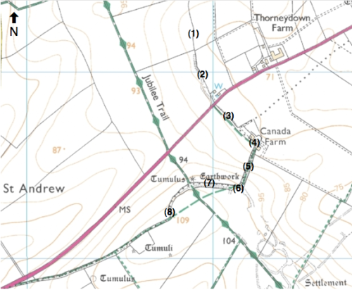 "Map showing ""seven ditches"" alongside other earthworks, routes and field boundaries in immediate vicinity (adapted from OS map available via Bing Maps)"