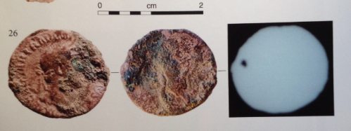 Images of a coin of Hadrian (minted c. 119-22), pierced for reuse as jewellery, found in Inhumation 229 at Hawk's Hill (Copyright SpoilHeap Publications, not mine)