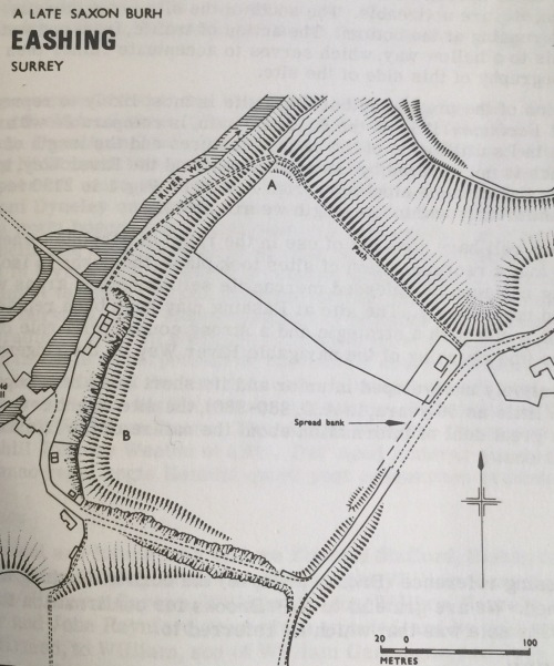 Plan of the postulated Eashing burh site from Aldsworth and Hill 1971, 199 Fig. 1. The earlier map is not the best fit but orientation is easy enough using the T-junction of Eashing Lane and The Hollow leading down to Lower Eashing and Eashing Bridges; it lies just beyond the southermost tip of The Berries and the postulated burh.