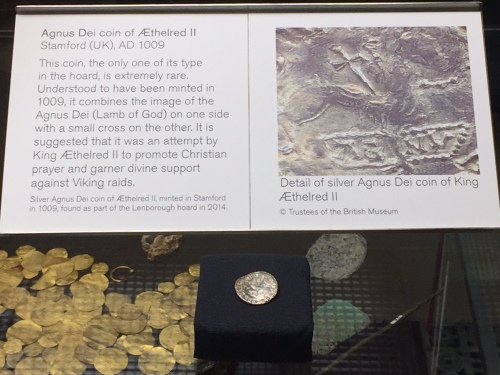 The Stamford-minted Agnus Dei penny of 1009, with explanatory blurb (Anglo-Saxon coins aren't big!)