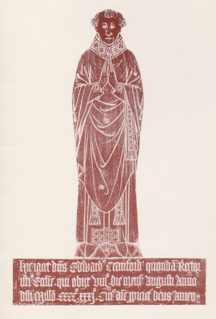 Rubbing of the memorial brass of Edward Cranford, set into the chancel floor at Puttenham church. Cranford is believed to have been rector from 1400 through to his death in 1433, and is the only medieval rector of Puttenham with an extant memorial in the church. The initiation of the construction of the church's west tower is traditionally ascribed to Cranford, though this is unrecorded and may be nothing more than an educated guess on the part of previous village historians
