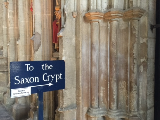 Being able to go down into the crypt beneath the crossing, very probably designed and built under the direction of St Wilfrid, was the main reason for my visit to Ripon cathedral. I've tweeted a couple more pictures of the interior here.