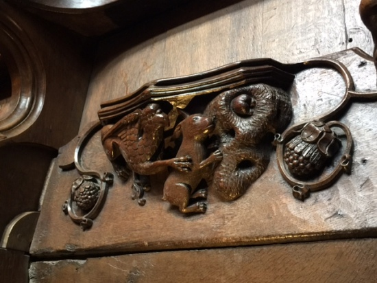 This misericord (which I want to say is 15th century) depicts a griffin chasing a rabbit, or maybe a hare. The point is it's been claimed as the inspiration for ALICE IN WONDERLAND! I really want this to be true.