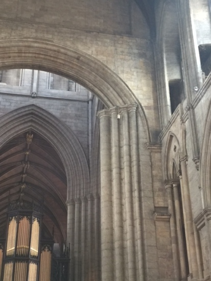One thing I saw in Ripon cathedral that I've seen nowhere else is this very obviously incomplete late medieval replacement of the original 12th-century arch between crossing and nave. Methinks this improvement will never be completed.