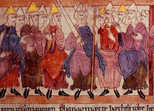Detail from the illustrated Old English Hexateuch; not sure which folio, but it's one of those images related to royal justice that gets reproduced in loads of works so it shouldn't be hard to find out (photo via Wikimedia Commons, you know the score)
