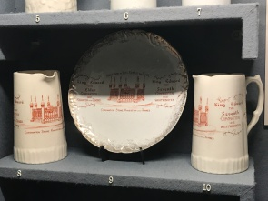 Commemorative ceramics marking the re-siting and re-staging of the Coronation Stone in 1850